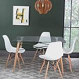 DORAFAIR Mesa de Comedor de Cristal Templado y 4 sillas, Juego de sillas de Comedor Moderna Nórdica Patas de Madera