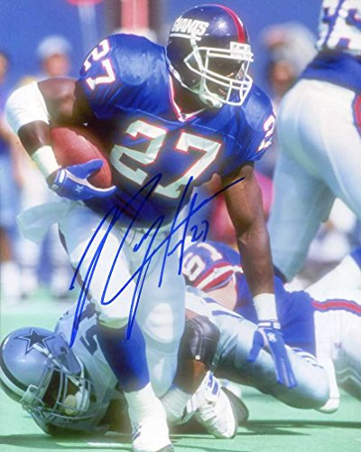 Rodney Hampton (Super Bowl XXV) Autographed/ Original Signed 8x10 Color Action-photo Showing Him with the New York Giants w/ His Number Inscribed