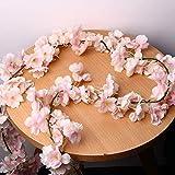 HonFitat Künstliche Seidenkirschblüten-Blumen-Hängende Rebe-Girlanden-Haupthochzeits-Dekorationen - Rosa