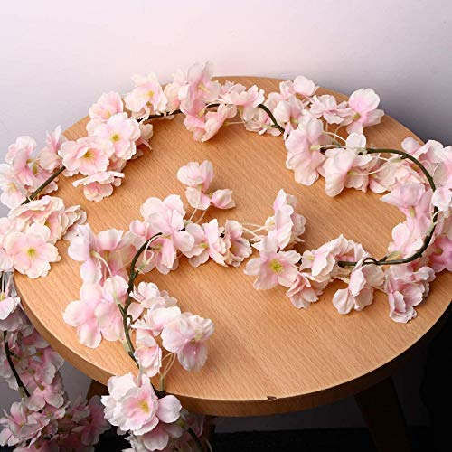 Bluelover Artificial Silk Cherry Blossom Flower Hanging Vine Garlands Home Wedding Decorations - Pink