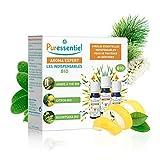 Puressentiel - Coffret 3 Huiles Essentielles Bio - Les Indispensables du quotidien - Arbre à Thé, Citron, Ravintsara