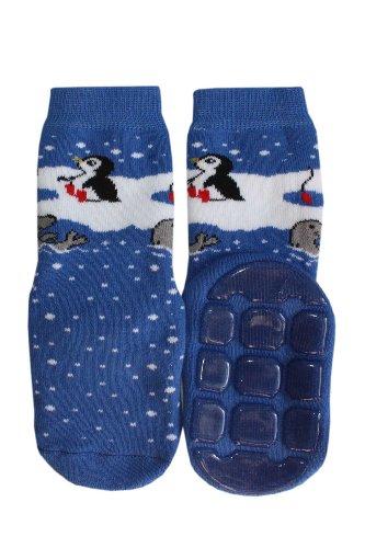 Weri Spezials Gute Freunde! Niedliche ABS Socke in Mittelblau, Gr.27-30 (5-6 Jahre). Guter Halt auf allen modernen Boeden-Fliesen,Laminat,oder Patkett.