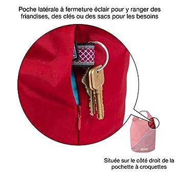 Kurgo Sac à Croquettes pour Chien - Sac de Transport de nourriture pour animaux de compagnie, Accessoire pour le camping, sans BPA, pliable, peut contenir 2,20 kg, poids 118 g – Rouge