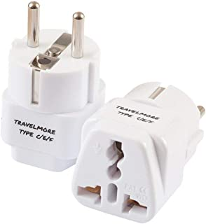2 Pack European Travel Adapter Plug for European Outlets - Type C, Type E, Type F - Europe Plug Adapter Works in France, Spain, Italy, Germany, Netherlands, Belgium, Poland, Russia & More
