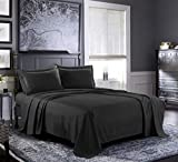 Bed Sheets - Queen Sheet Set [6-Piece, Black] - Hotel Luxury 1800 Brushed Microfiber - Soft and Breathable - Deep Pocket Fitted Sheet, Flat Sheet, Pillow Cases
