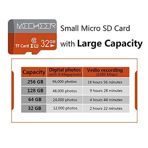 Micro SD Card 64GB 2 Pack, MECHEER Memory Card Micro SDXC Card Mini TF Card Class 10 UHS-I Flash Memory Card High Speed 85MB/s C10, U3, Full HD, 64GB microSD Card, Red/Gray