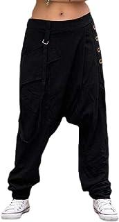 qianqianq Men's Trousers Loose-Fit Drop-Crotch Low-Waisted Harem Jogger-Pants Pants