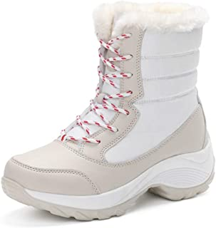 Women Winter Snow Boots Platform Lace Up Warm Short Plush Sport Comfort Faux Fur Ankle Short Bootie