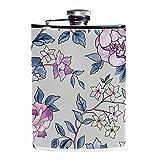 Petaca plana para licor con embudo y alcohol, diseño de flores moradas