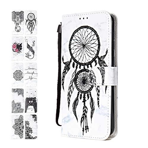 Funda de Cuero Compatible con Samsung Galaxy A50 con Tapa Libro PU Case Cover Completa Protectora Funda para Teléfono Piel Tarjetero Modelo - Atrapasueños de mármol