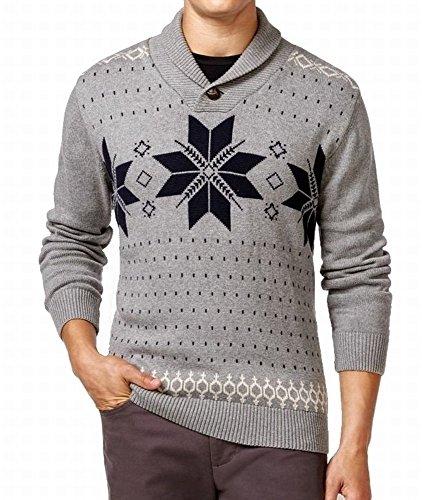 Weatherproof Men Shawl Collar Fair Isle Pullover Sweater XL Gray Heather