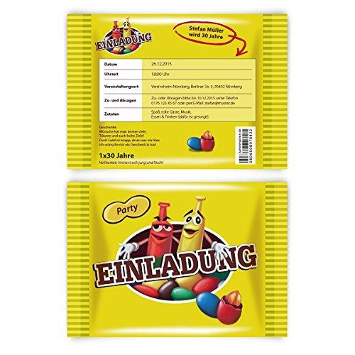 Einladungen (10 Stück) als Schokolinsen Schokolade Nüsse Karten Einladungskarten