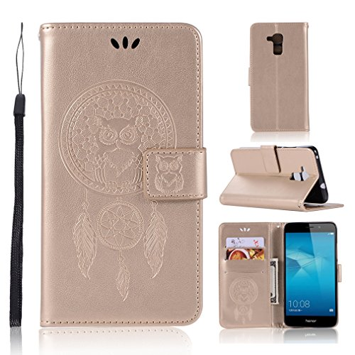 LMAZWUFULM Hülle für Honor 5C / Huawei 7 Lite/Huawei GT3 (5,2 Zoll) PU Leder Magnetverschluss Brieftasche Lederhülle Eule & Traumfänger Muster Standfunktion Ledertasche Flip Cover Gold