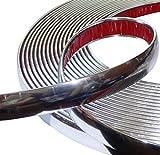 WOVELOT Tira de Moldura Cromado Decorativo para Coche Color Plateado 15M x 10mm