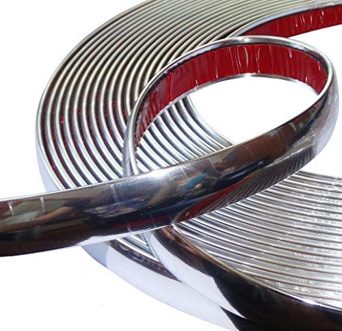 AERZETIX: Tira adhesiva para decoracion de níquel cromo para coche color plata...