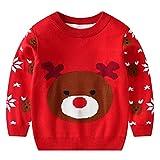 Niños Sudadera de Suéter de Navidad Jersey de Punto Bebés Niñas Casual de Algodón Ciervo Pull-Over para Invierno Primavera 1-2 Años