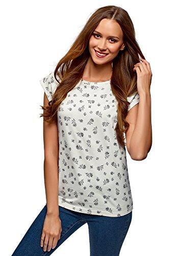oodji Ultra Mujer Camiseta Estampada de Algodón, Blanco, ES 36 / XS