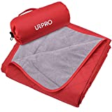URPRO Waterproof Warm Fleece Outdoor Blanket Extra Large Lightweight Portable with Carry Bag for Stadium, Picnic, Camping, Beach, Dogs, Sofa RED