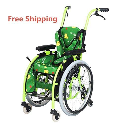 lHishop Sport- Und Freizeitrollstühle Kinderrollstuhl Grün Leichtgewicht Power Assist Active Basketball Sport Manual Rollstuhl