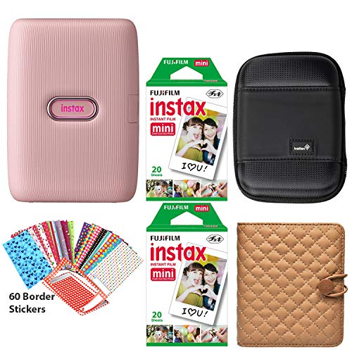 Fujifilm Instax Mini Link Smartphone Printer (Dusky Pink), Photo Album (Coffee), Carrying Case, 40 Instax Sheets and 60 Border Stickers