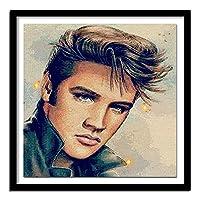 大人のための5DDIYダイヤモンドペインティングフルキット 大人のためのDIYダイヤモンド塗装キットフルドリル塗装 エルビスの肖像画(30x40)CM