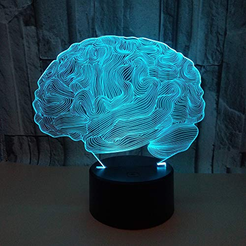 Kaper Go Cerebro LED Colorido Gradiente 3D Estéreo Lámpara De Mesa Táctil Remoto USB Luz De Noche Escritorio Mesita De Noche Creativos Adornos Decorativos De Regalo