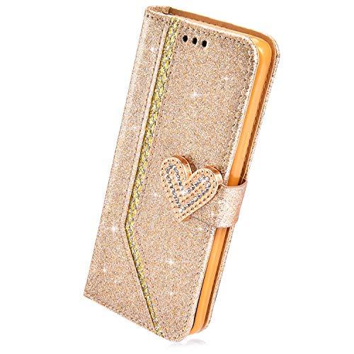 Herbests Kompatibel mit iPhone 6S 4.7 Hülle Leder Handyhülle Glitzer Bling Sparkle Mädchen Brieftasche Hülle Flip Case Tasche Strass Diamant Wallet Handytasche Schutzhülle,Gold