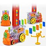 Zcaukya Kids Dominos Set,144 Pcs Domino Train Blocks Set, Building and Stacking Toy Blocks Domino Set for 2-7 Year Old Toys,Boys Girls Creative Gifts for Kids
