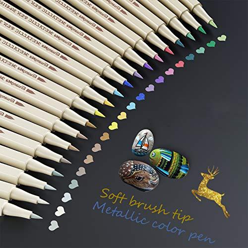 Baozun Metallic Marker Stifte Acrylstifte 20 Farben Metallic Pinsel Stifte Metallic Brush Pen Set