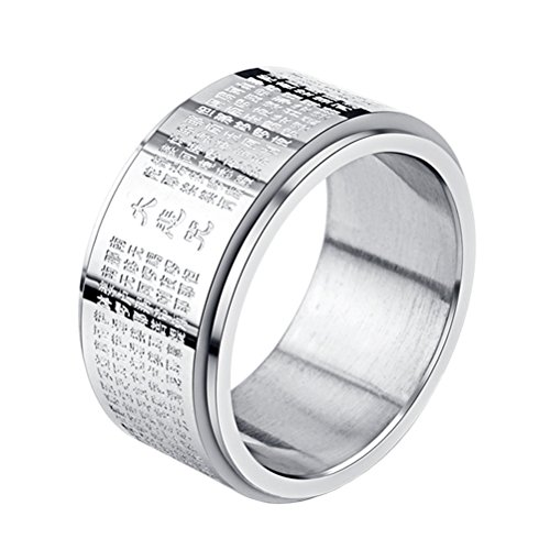 INRENG Stainless Steel Buddhist Rings for Men Engraved Chinese Great Compassion Mantra Wide Bands Size 10