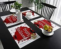 ランチョンマット ハロウィン 蝙蝠 紅い水墨画 プレースマット お食事マット 食卓 飾り 断熱 テーブルマット おしゃれ 滑り止め 北欧 丸洗い 雰囲気アップ 家庭レストラン用 4枚