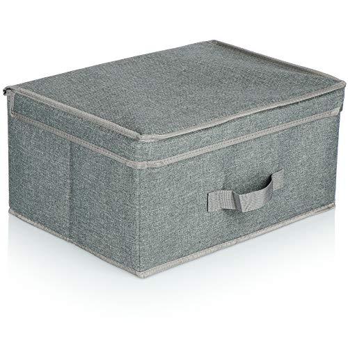 com-four® Aufbewahrungsbox mit Deckel - Faltbare Kiste zur Aufbewahrung - Faltbox mit Deckel und Griff für Kleiderschrank, Kleidung, Bücher, Spielzeug