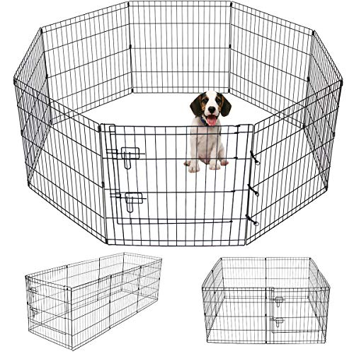 generic puppy playpens Artmeer Pet Playpen Puppy Playpen Kennels Dog Fence Exercise Pen Gate Fence Foldable Dog Crate 8 Panels 24 Inch Kennels Pen Playpen Options Ideal for Pet Animals Outdoor Indoor (24 Inch)