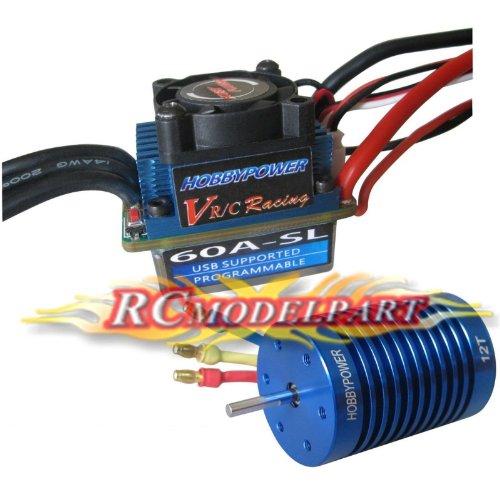 Hobbypower Racing 60a ESC Brushless Speed Controller 12t 3330kv Motor for 1/10 1/12 Car Truck