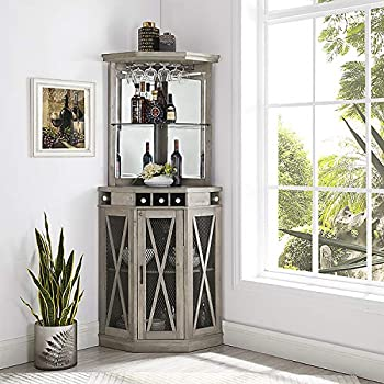 Home Source Corner Bar Unit with Built-in Wine Rack and Lower Cabinet  Stone Grey