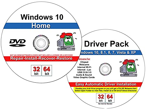9th & Vine DVD Compatible With Windows 10 Home 32-64 bit & 2019 Drivers Combo. Install To Factory Fresh, Recover, Repair and Restore Boot Disc. Fix PC