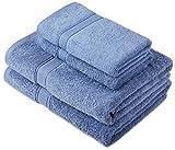 Pinzon by Amazon - Juego de toallas de algodón egipcio (2 toallas de baño y 2 toallas de manos), color azul claro