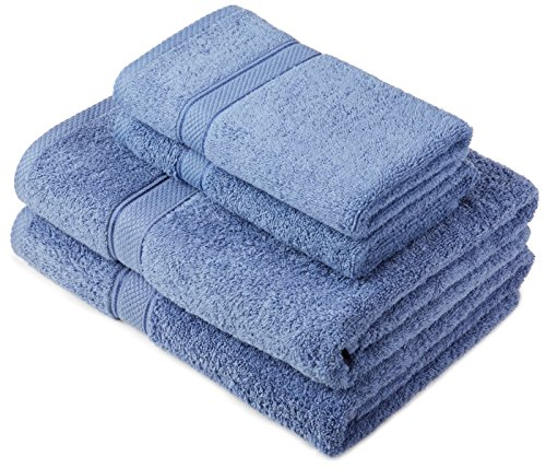 Pinzon by Amazon Handtuchset aus Baumwolle, Wedgewood-Blau, 2 Bade- und 2 Handtücher, 600g/m²