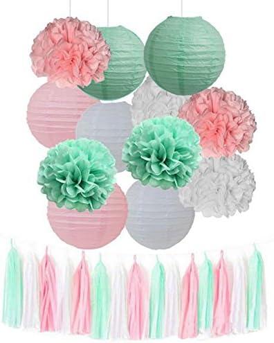 15pcs Mixed Mint Green Pink White Tissue Pom Poms Tassel Garland Paper Lanterns Wedding Bridal product image