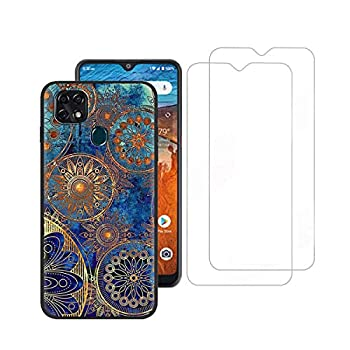 Tznzxm ZTE ZMax 10/ ZTE Z6250 Case with Tempered Glass Screen Protector [2 Pack] Fashion Painting Design Flexible TPU Scratch Resistant Non-Slip Protective Bumper Slim Phone Case for ZTE Z6250