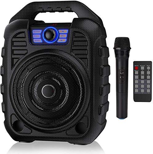 携帯用PAシステムのBluetoothスピーカーのBluetoothスピーカーの無線マイクを備えた充電式カラオケマシン、FMラジオ、オーディオレコーディング、リモコン、TFカード/USBをサポート