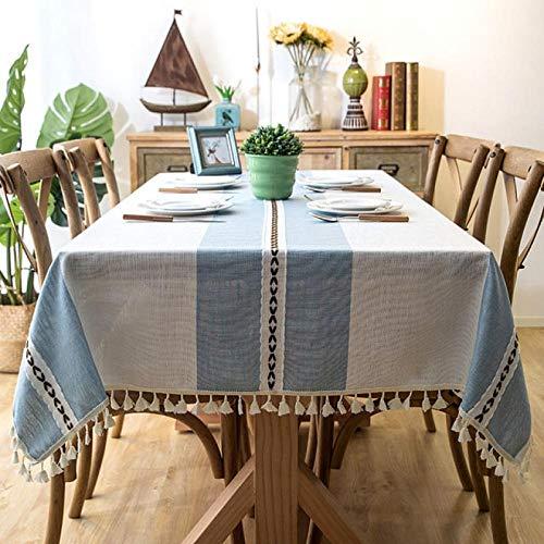 ZXCN Mantel Impermeable para Banquetes Boda Recepciones Anti Scalding Cotton and Linen Formal o Informal Celebrations y Eventos Blue 140×220cm