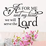Wall Decals As for Me and My House Vinyl Wall Stickers for Bedroom Bible Verse Quotes Home Decor Sticker for Living Room Art Saying Church Pray Lettering Decoration Christian Spiritual Scripture