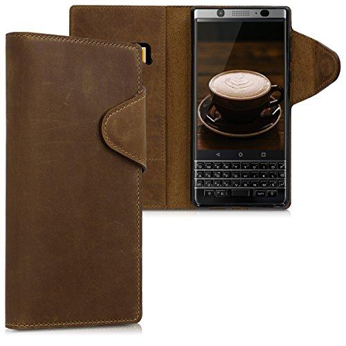 kalibri BlackBerry KEYone (Key1) Hülle - Leder Handyhülle für BlackBerry KEYone (Key1) - Braun - Handy Wallet Case Cover