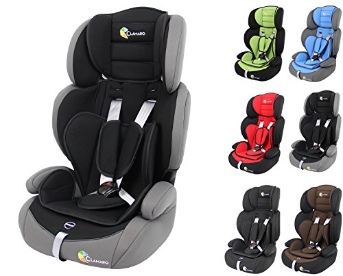 Clamaro 'Guardian' Kinderautositz 9-36 kg mitwachsend, Auto Kindersitz für Kinder von 1-12 Jahre, Gruppe 1/2/3, ECE R44/04, Farbe: Grau Schwarz