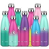 KollyKolla Botella de Agua Acero Inoxidable, Termo Sin BPA Ecológica, Botella Termica Reutilizable Frascos Térmicos para Niños & Adultos, Deporte, Oficina, (650ml Púrpura Oscuro + Rosa Barbie)
