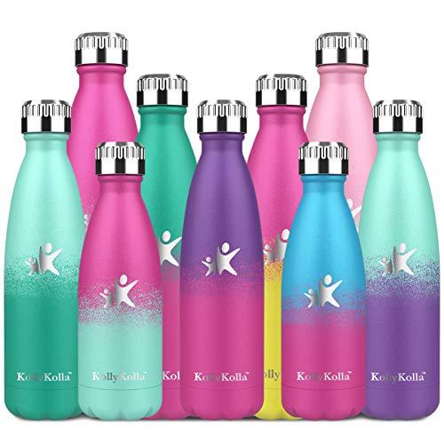 KollyKolla Edelstahl Trinkflasche 24 Std. Kalt und 12 Std. Heiß - Premium Vakuum Wasserflasche - Isolierflasche für Sport, Laufen, Fahrrad, Yoga, Wandern und Camping - 350ml/500ml /650ml/ 750ml