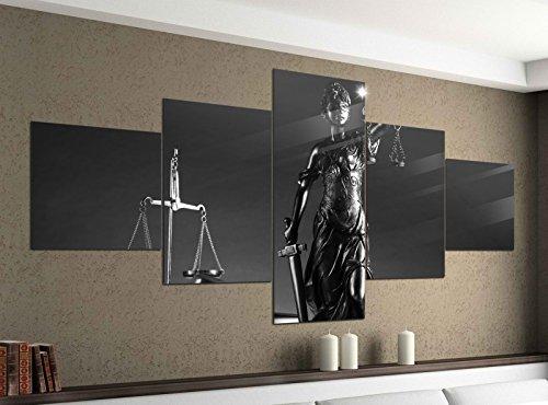 Leinwandbild 5 tlg. 200cmx100cm Anwalt Symbol Justitia Hammer Gerichtssaal schwarz weiß Bilder Druck auf Leinwand Bild Kunstdruck mehrteilig Holz 9YA1610, 5Tlg 200x100cm:5Tlg 200x100cm