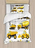 Ambesonne Nursery Duvet Cover Set, Abstract Images of Construction Vehicles Machinery Trucks Bulldozer Crane, Decorative 2 Piece Bedding Set with 1 Pillow Sham, Twin Size, Yellow Black