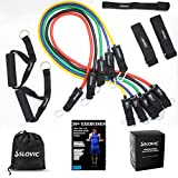 SLOVIC Premium Resistance Band/Tubes with Foam Handles, Door Anchor,Ankle Straps for Men and Women with Extensive Guide Containing 30 Plus Exercises. (Multicolor(5 Tubes Set, 150 LBS))